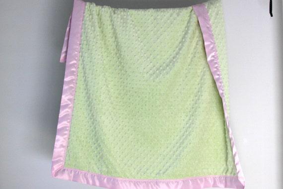 Baby Blanket Stroller Blanket Cot Blanket Personalized Minky Blanket. Baby Pink with Aqua Trim Crib Bedding Satin Trim Blanket