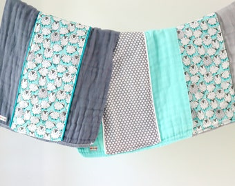 Baby Burp Cloth Gift Set of 3, Aqua Sheep B-370