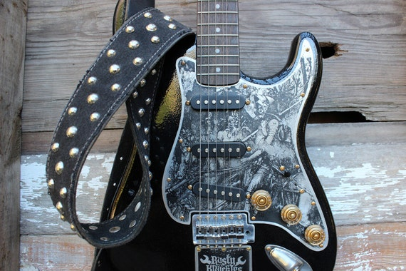 Guitar Strap Heavy Metal Style Made From Black Leather And Etsy