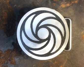 Crop Circle, Aliens, Aluminum Belt Buckle, Custom Made, Etched Metal, Design, Pattern,