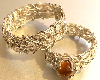 His and Hers Amber Wedding Rings, Couples Rings, Rustic Wedding Band, Matching Wedding Bands, Amber Engagement Ring