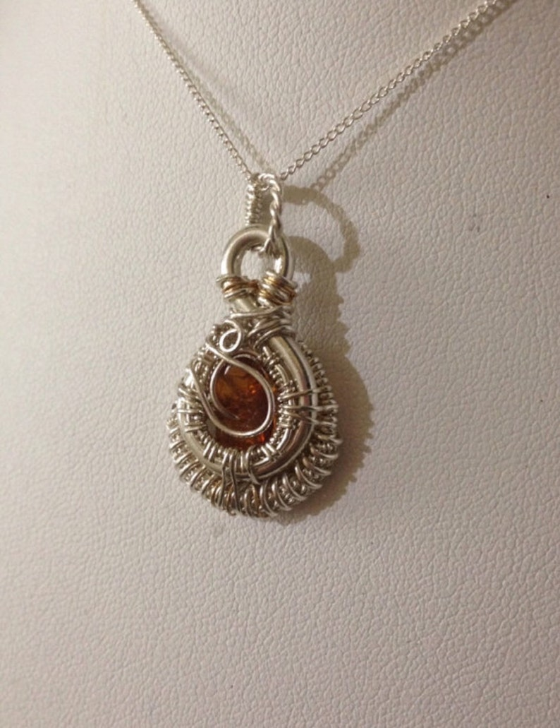 Sterling Silver /& Gold Accent Necklace in Genuine Baltic Amber Heady Wrap Wire Wrapped Jewelry Handmade