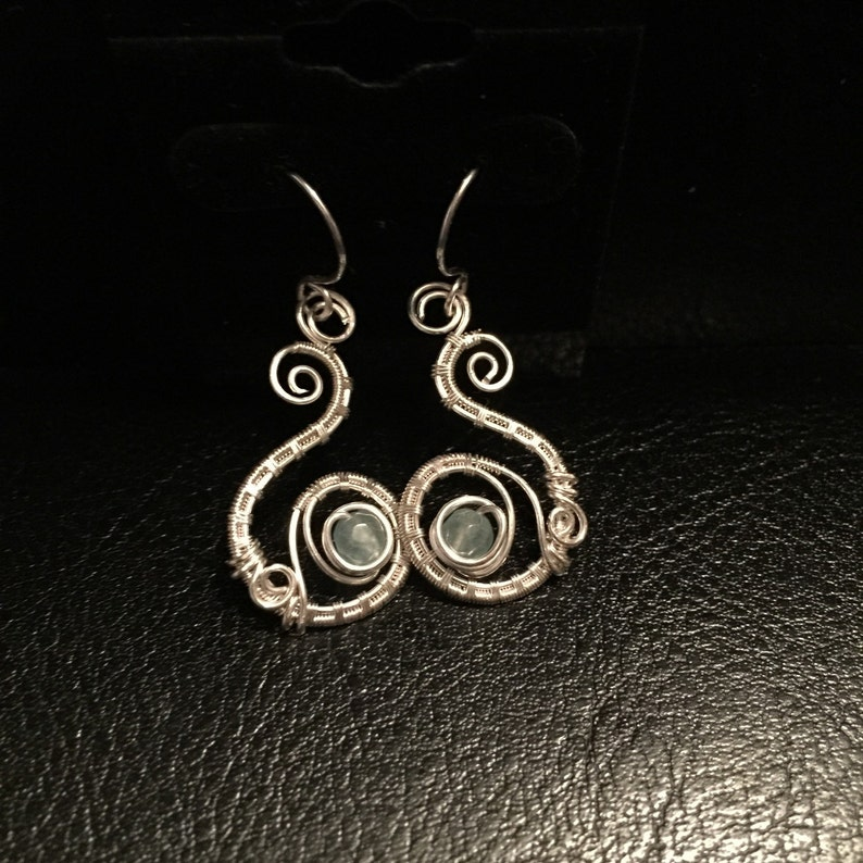 Wire Wrapped Jewelry Handmade,Wire Wrap Jewelry Silver and Aquamarine Earrings Personalized Jewelry