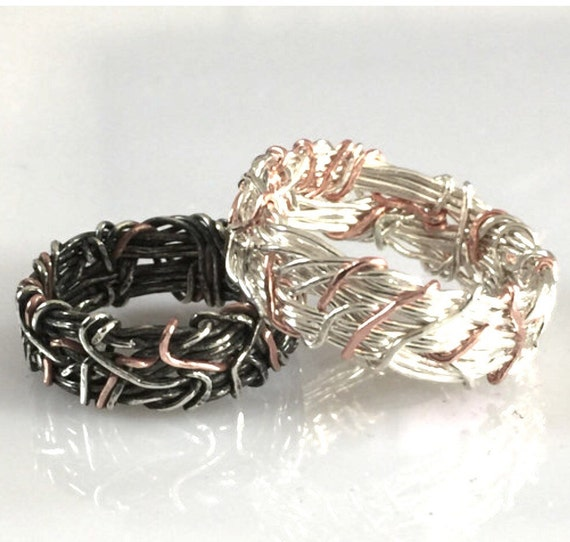 14k rose gold his and her promise rings sterling silver