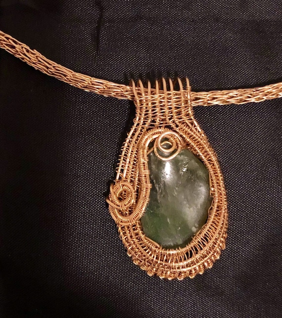 Jade and 14K Yellow gold wire wrap pendant, Heady Wire Wrapped Jewelry Handmade, Jade handmade pendant