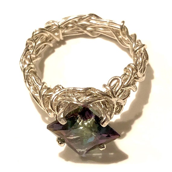 Crown of Thorns Ring, 6mm Mystic Topaz and 925 Sterling Silver, Christian Jewelry, Oxidized Silver Band, Filigree Ring, Purity Ring