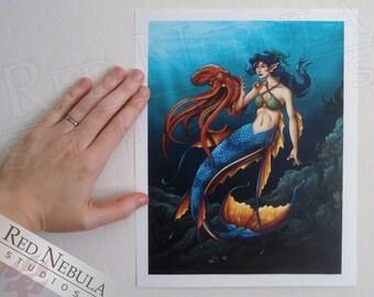 8.5x11 Blue Mermaid Artwork, Mermaid and Octopus, Kids Room Art, Mermaid Wall Art, Mermaid Décor, Fantasy Illustration, Mermaid Picture