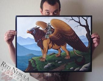 18x24 Griffon Rider Art Print, Griffin Print, Greek Myth, Gryphon Fantasy Artwork, Mythology Art