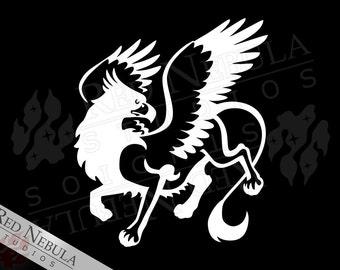 Vinyl Griffon Decal, Griffin Laptop Decal, Gryphon Car Decal, Fantasy Window Decal, Greek Mythology, Fantasy Creature, Griffin Vinyl Sticker