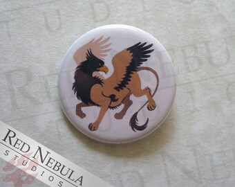 Griffin Pinback Button, Magnet, or Keychain, Griffon Fridge Magnet, Fantasy Accessory, Gryphon Pin Button, Greek Mythology, Creature of Myth