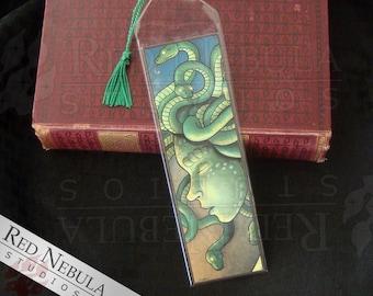 Sad Medusa Bookmark, Greek Mythology, Green Snake Woman, Green Tassel, Myth Bookmark