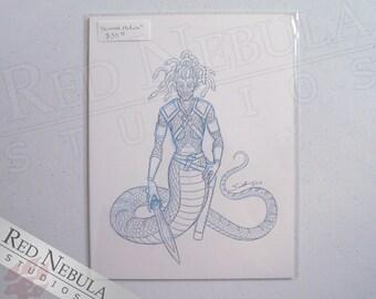 8.5x11 Armored Medusa Drawing, Original Fantasy Artwork, Greek Mythology Art, Snake Woman Drawing, Gorgon Sketch, OOAK Greek Legends Drawing