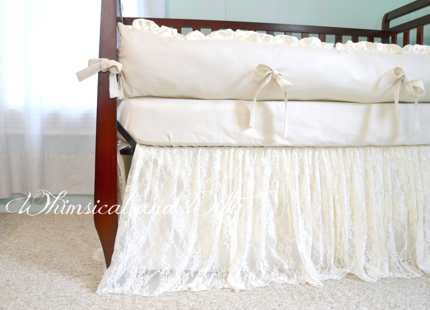 Baby Bedding Crib Bedding Ivory Lace And Ivory Cotton Etsy