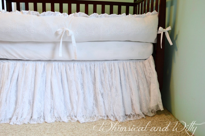 White Lace Baby Crib Bedding White Cotton And Satin Etsy