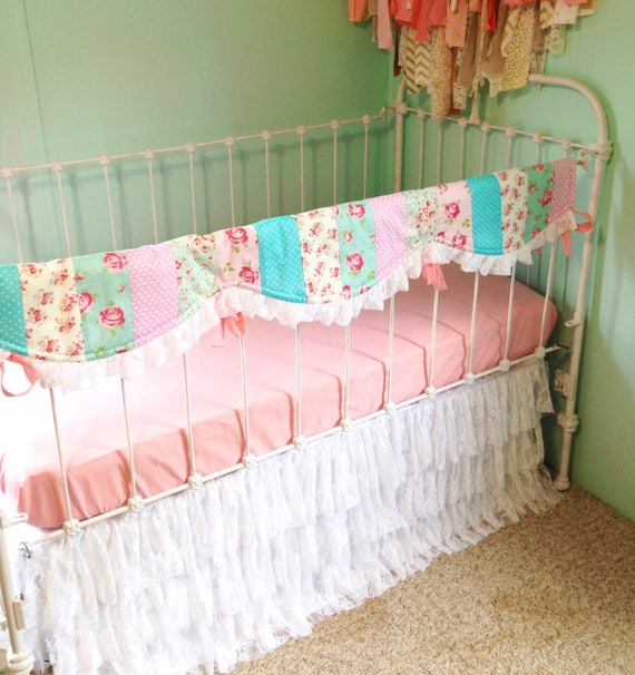 Baby Bedding Crib Bedding Shabby Chic Rose Coral Aqua Etsy