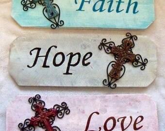 CLEARANCE - Faith, Hope, & Love Signs