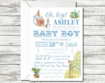 Peter Rabbit Baby Shower Invitation, Baby Boy Shower, Oh Boy, Beatrix Potter Invitation