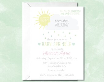 Baby Sprinkle Baby Shower Invitation, You Are My Sunshine, Gender Neutral Baby Shower