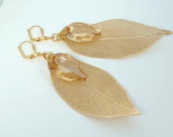 Gold Plated Natural Leaf Earrings with Swarovski Gold Leaf Drops- Swarovski Leaf Earrings- Natural Leaf Earrings- Item KBD-495