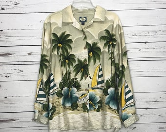 Mens vintage Tommy Bahama Hawaiian beach shirt SZ:M
