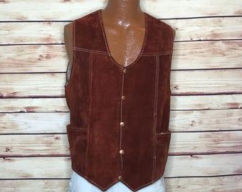 Mens 70's vintage chestnut brown leather vest