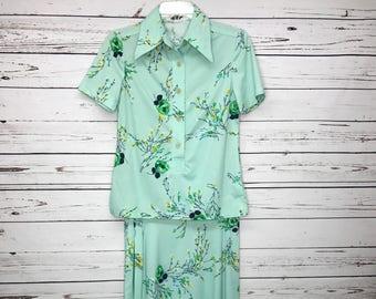Ladies70'sgreen top skirt set floral vintage