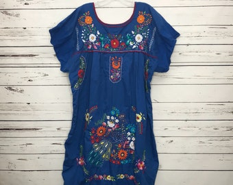Handmade blue embroidered Mexican Aztec dress Sz: Large