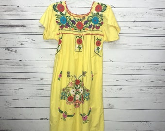 Yellow handmade authentic Mexican floral embroidered dress SZ:S