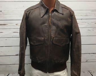 a869412294e Vintage 1950s Golden Bear Horsehide Leather G-1 flight bomber jacket 44