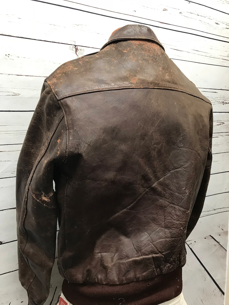 Vintage 1950Golden Bear Horsehide Cuir G 1 veste bombardier