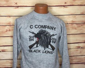 Men's 70s vintage USMC Marine Corps black lion heathered gray sweat shirt