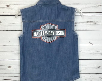 Harley Davidson denim biker vest SZ: 6T
