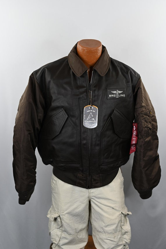 Brown Breitling Leather Flight Jacket Size: L