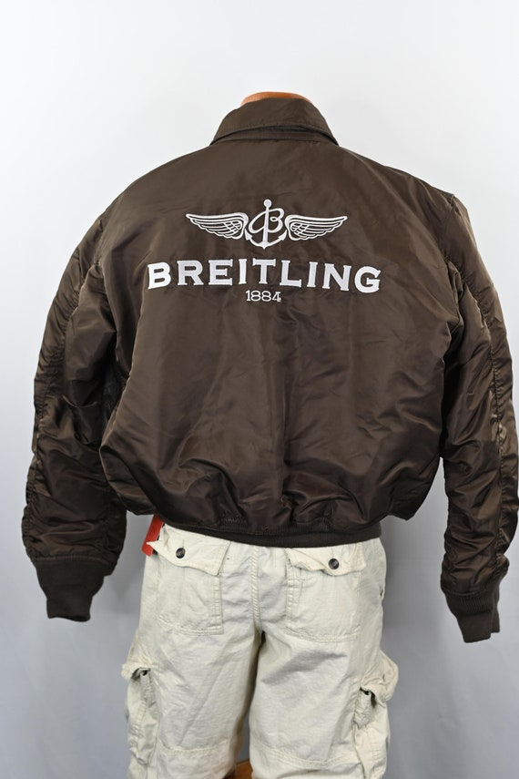 Brown Breitling Leather Flight Jacket Size: L - image 5