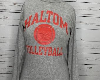 Ladies 80s vintage heathered gray champion thick rayon long sleeve prep shirt