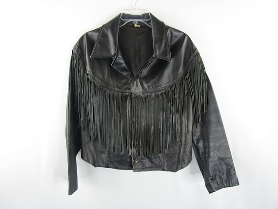 Vintage Leather Fringe Crop Moto Jacket Size M
