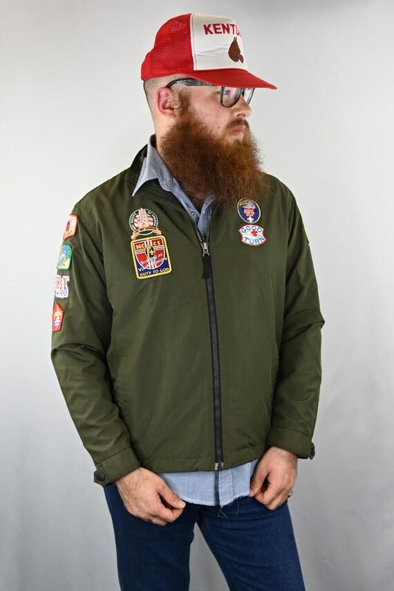 Men's Green Boy Scout Patch zip up Utility Jacket