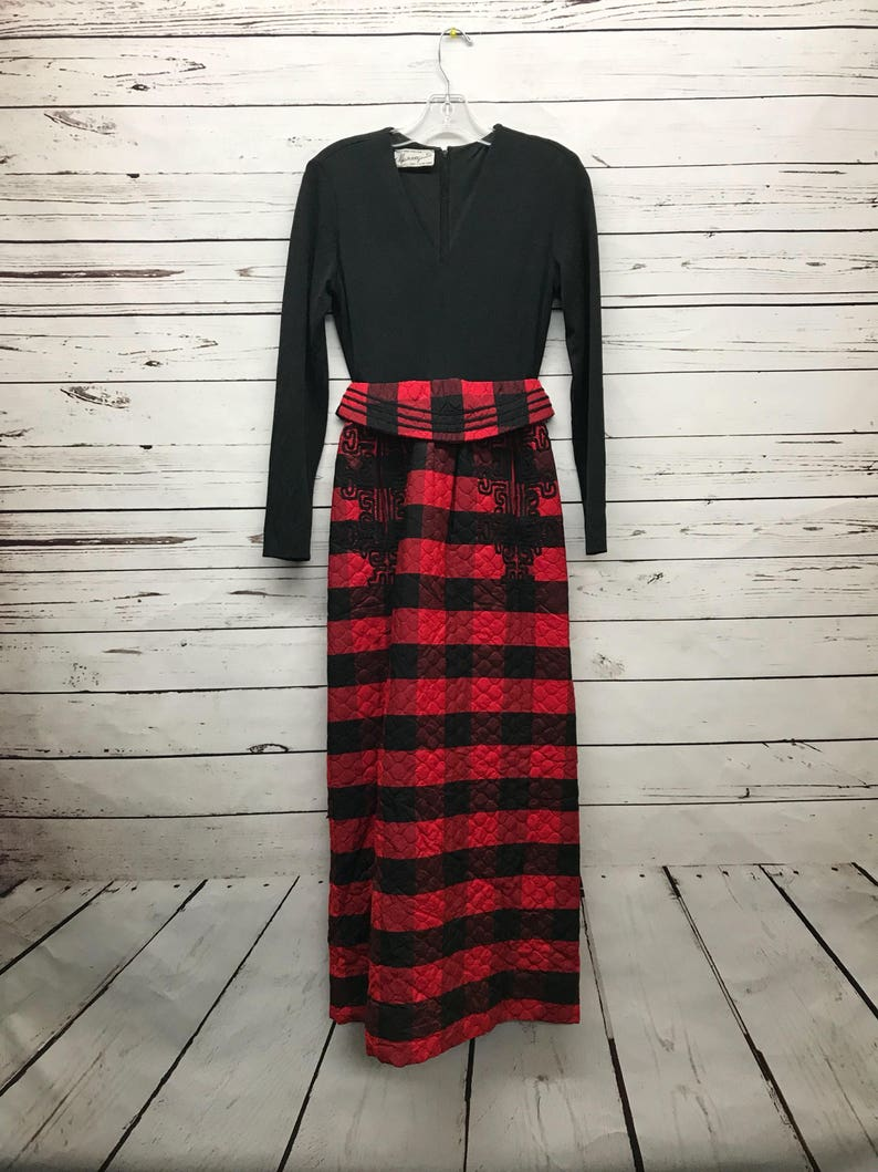 971207d8582 70 s vintage ladies black red buffalo plaid dress
