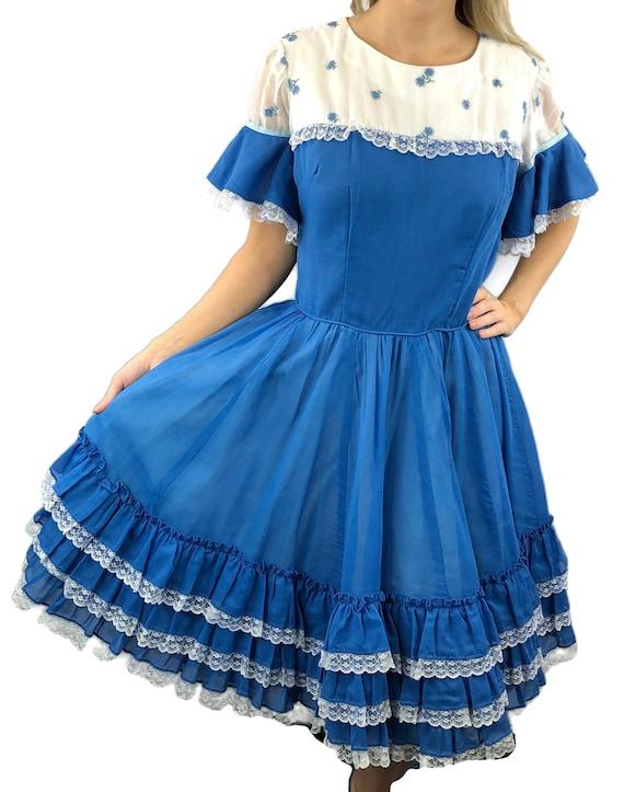 Vintage Ladies Ruffled Lace Flare Sleeves Sz M