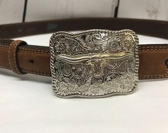 Brown leather cowboy western justin belt