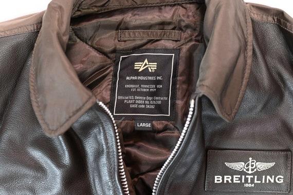 Brown Breitling Leather Flight Jacket Size: L - image 9