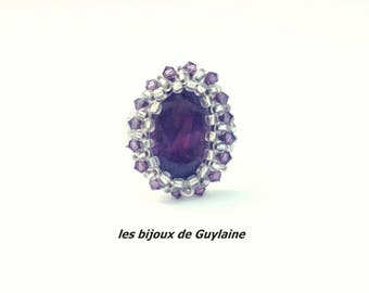 Swarovski Crystal and Amethyst gemstone ring