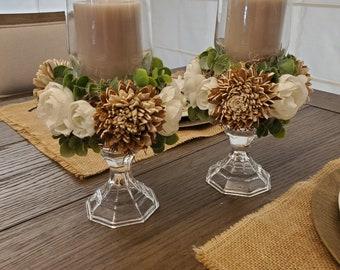 wood flower centerpiece Shabby Chic Candlesticks Farmhouse Candlesticks sola flower Candlesticks