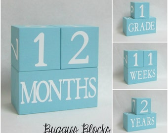 Baby Age Blocks - Photo Prop - 0 - 43 Weeks, Months, Years and Grade Baby Blue Background