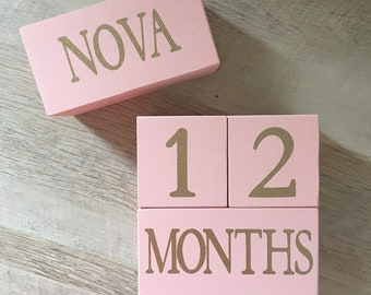 GLITTER Baby Age Blocks - Photo Prop - 0 - 43 Weeks, Months, Years and Grade