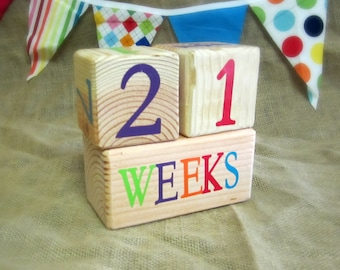 Wooden Pregnancy and Baby Age Blocks - Photo Prop - 0 - 43 Weeks, Months, Years and Grade