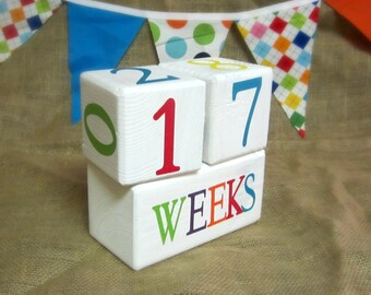 Weeks Pregnancy Count Up or Count Down Blocks - Baby Age Blocks