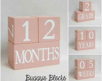 Baby Age Blocks - Photo Prop - 0 - 43 Weeks, Months, Years and Grade Blush Pink Background