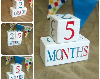 Wooden Baby Age Blocks - Photo Prop - 0 - 43 Weeks, Months, Years and Grade - Red Teal and Gray