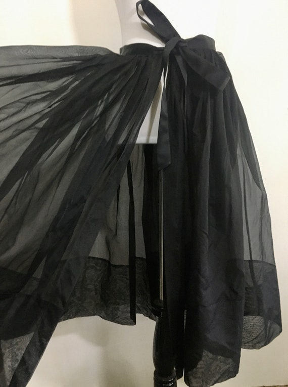 Vintage black sheer wrap skirt with satin bow